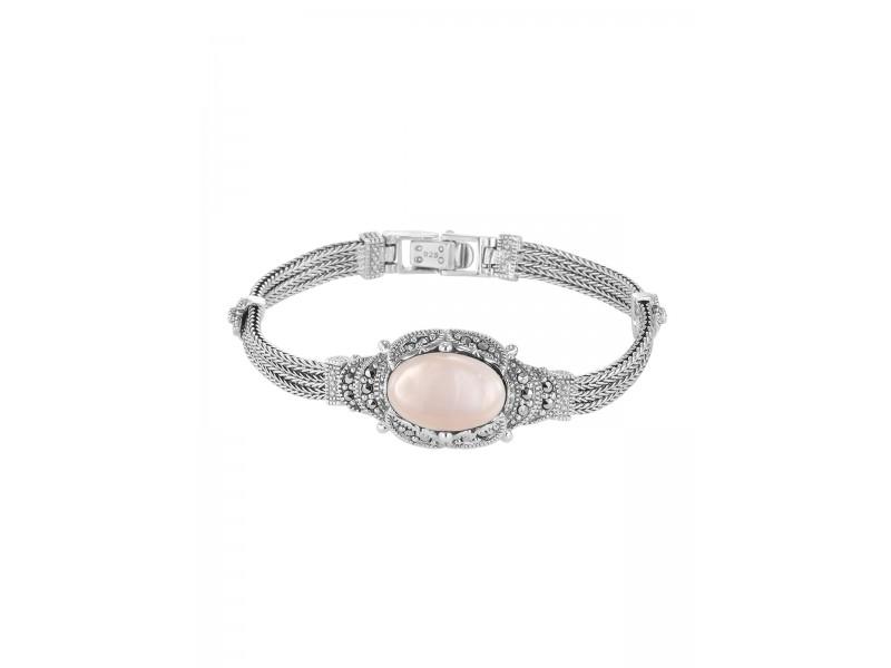 Серебряное Браслет арт. BR0722 Марказит Swarovski, Перламутр розовый