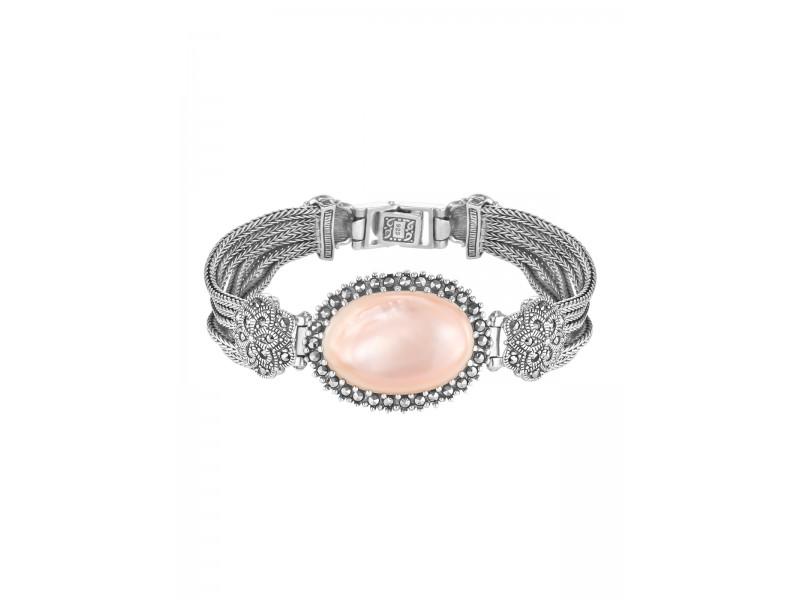 Серебряное Браслет арт. BR436 Марказит Swarovski, Перламутр розовый
