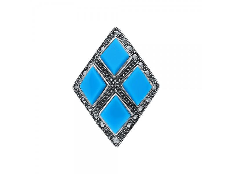Серебряная Брошь арт. HB586 Марказит Swarovski, Бирюза