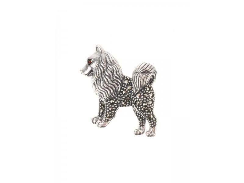 Серебряная Брошь арт. HB703 Марказит Swarovski, Гранат