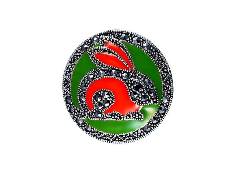 Серебряная Брошь арт. HB609 Марказит Swarovski, Гранат, Эмаль