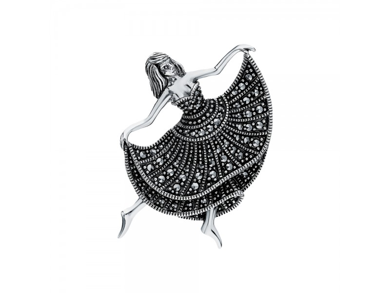 Серебряная Брошь арт. HB696 Марказит Swarovski