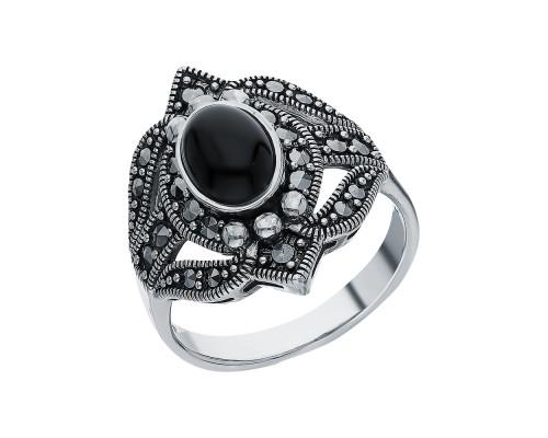 Серебряное Кольцо арт. HR047 Марказит Swarovski, Оникс