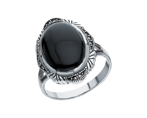Серебряное Кольцо арт. HR1496 Марказит Swarovski, Оникс