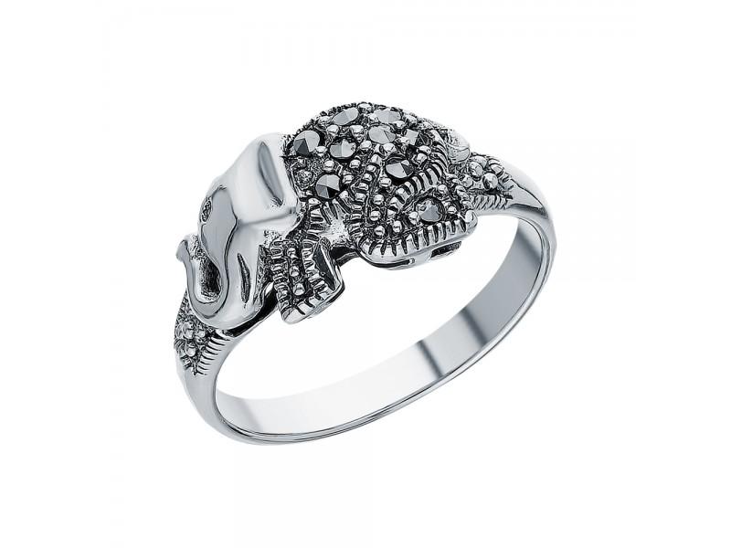 Серебряное Кольцо арт. HR332 Марказит Swarovski