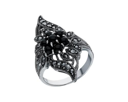 Серебряное Кольцо арт. HR702 Марказит Swarovski, Оникс