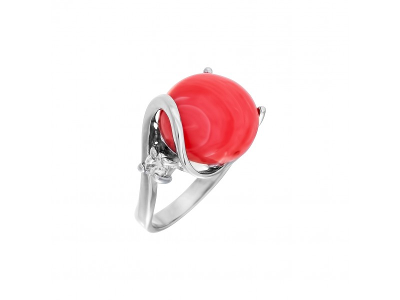 Серебряное Кольцо арт. 012992 Коралл, Фианит