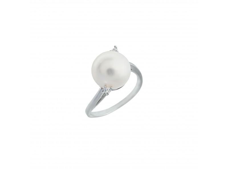 Серебряное Кольцо арт. 10484 Жемчуг, Фианит