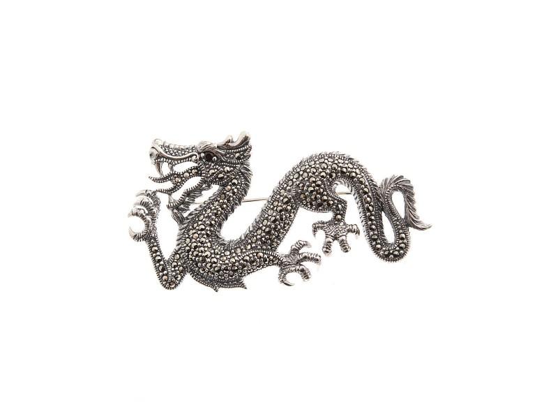Серебряная Брошь арт. HB001 Марказит Swarovski, Гранат