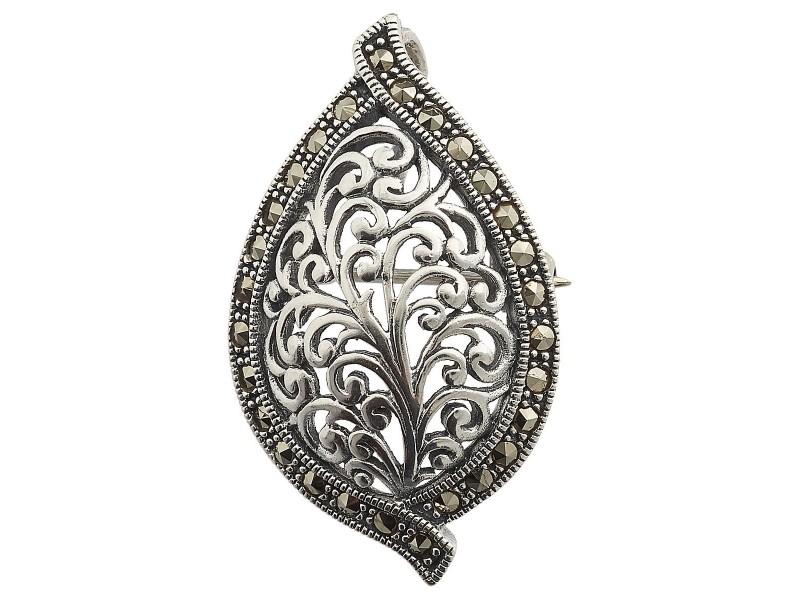 Серебряная Брошь арт. HB570 Марказит Swarovski