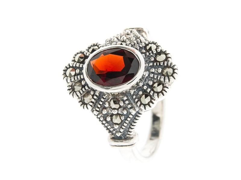 Серебряное Кольцо арт. HR046 Марказит Swarovski, Гранат