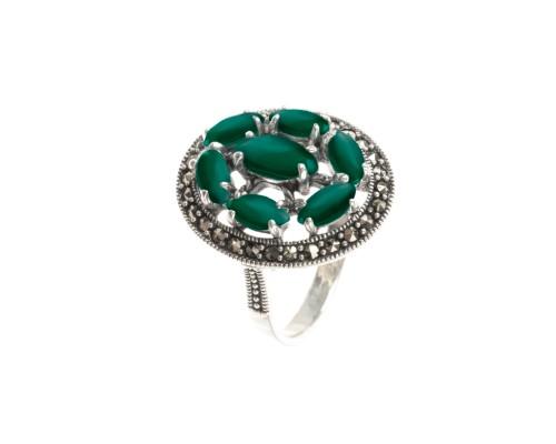 Серебряное Кольцо арт. HR1141 Марказит Swarovski, Хризопраз