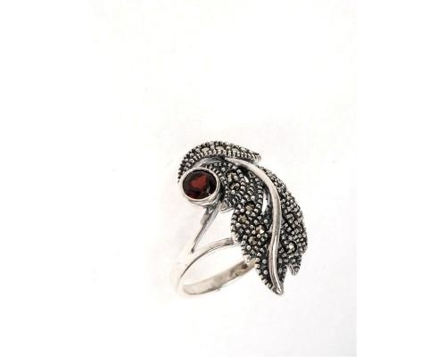 Серебряное Кольцо арт. HR1294 Марказит Swarovski, Гранат