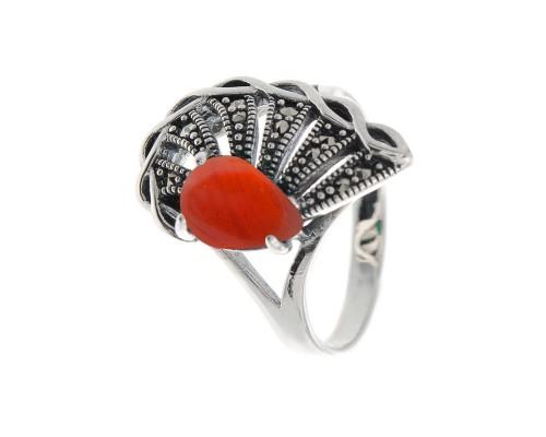 Серебряное Кольцо арт. HR1456 Марказит Swarovski, Сердолик