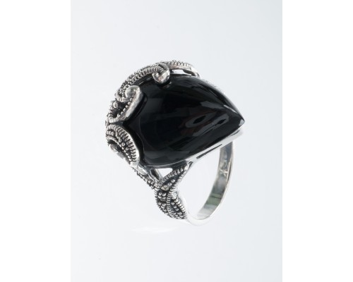 Серебряное Кольцо арт. HR1470 Марказит Swarovski, Оникс