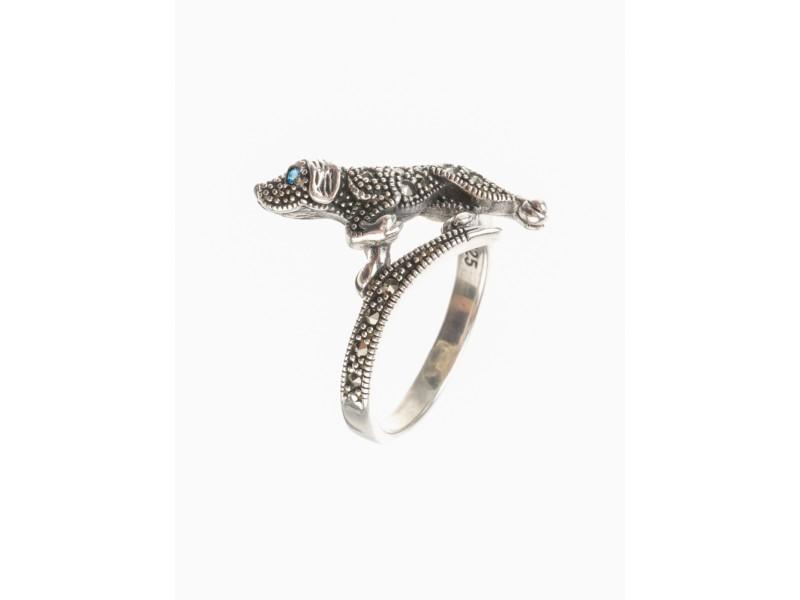 Серебряное Кольцо арт. HR1480 Марказит Swarovski, Топаз лондон