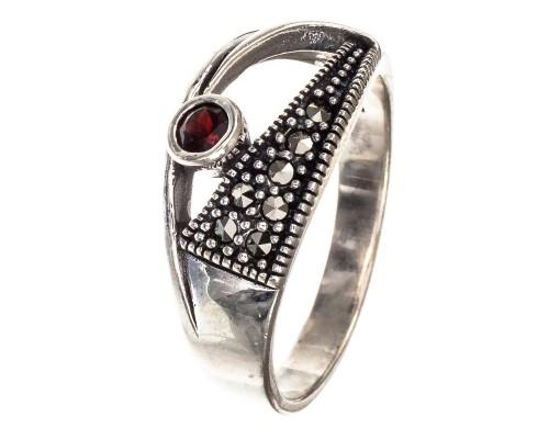 Серебряное Кольцо арт. HR1559 Марказит Swarovski, Гранат