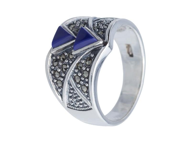Серебряное Кольцо арт. HR217 Марказит Swarovski, Лазурит