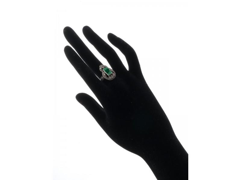 Серебряное Кольцо арт. HR596 Марказит Swarovski, Малахит