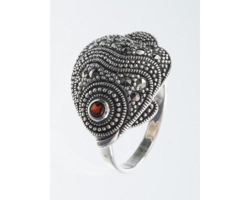 Серебряное Кольцо арт. HR870SP Марказит Swarovski, Гранат