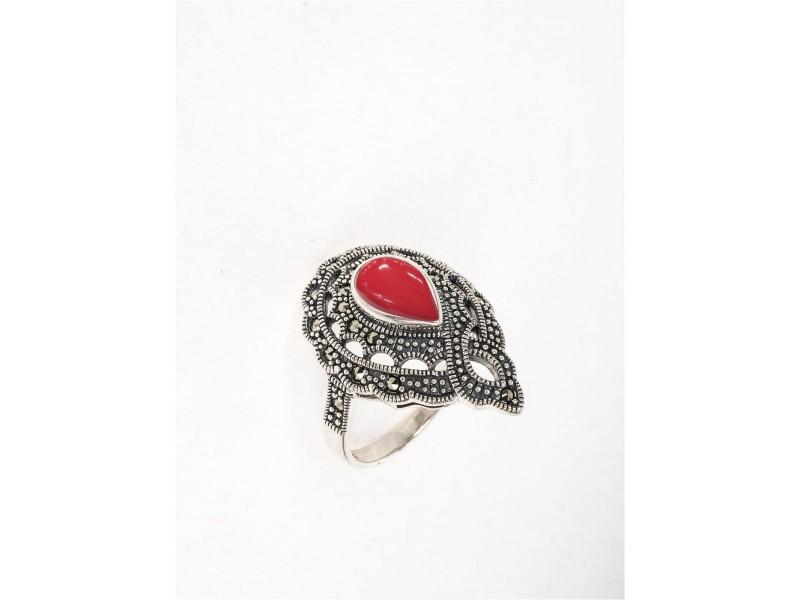 Серебряное Кольцо арт. HR946 Марказит Swarovski, Коралл