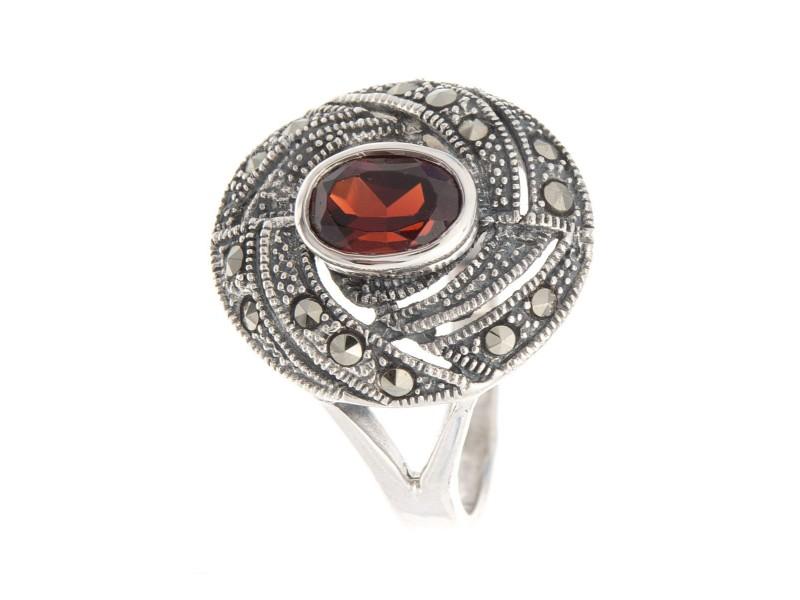 Серебряное Кольцо арт. HR969 Марказит Swarovski, Гранат