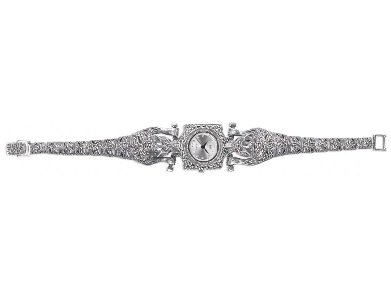 Серебряные Часы арт. HW008 Марказит Swarovski, Гранат