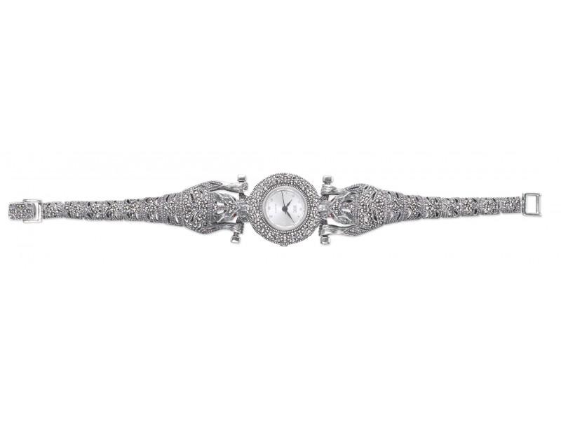 Серебряные Часы арт. HW146 Марказит Swarovski, Гранат