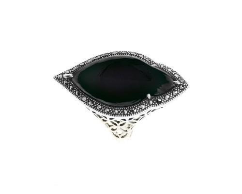 Серебряное Кольцо арт. M101564 Марказит Swarovski, Оникс