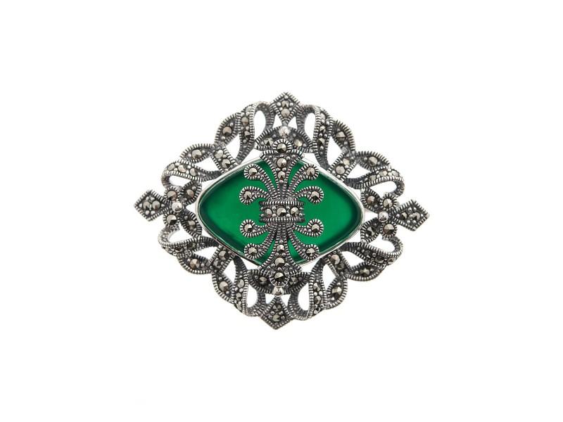 Серебряная Брошь арт. HB065 Марказит Swarovski, Хризопраз