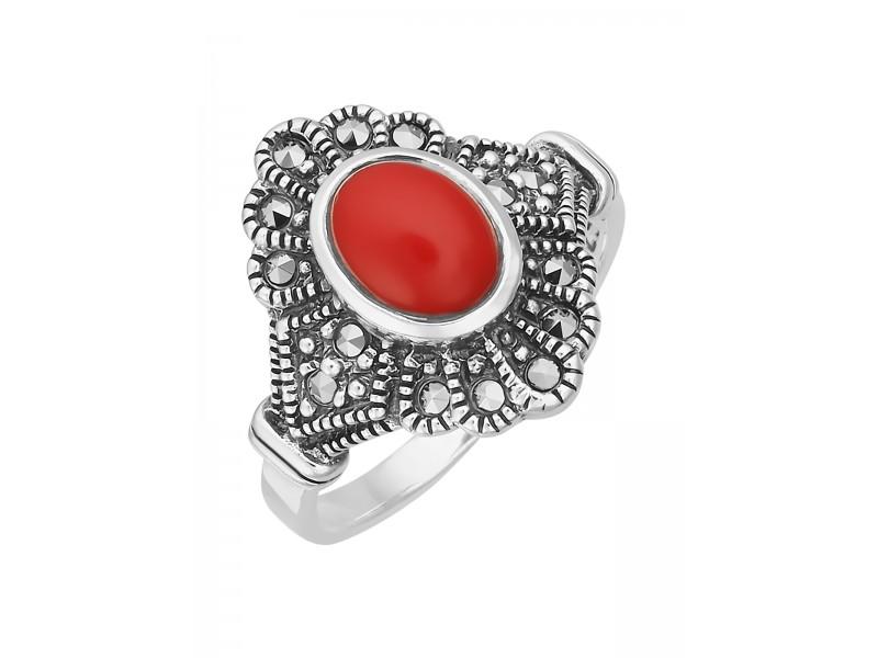 Серебряное Кольцо арт. HR046 Марказит Swarovski, Коралл